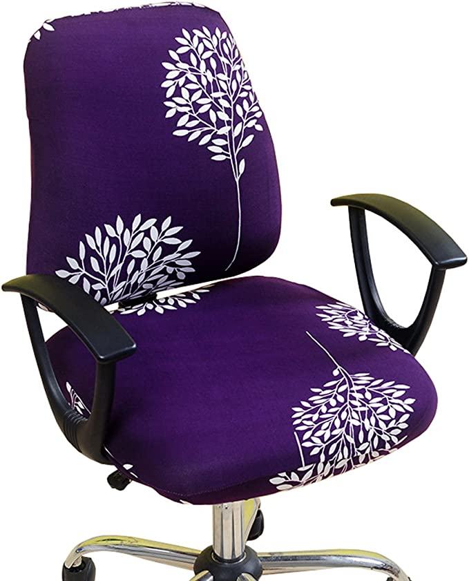 Alusbell Office Chair Cover Universal Fit Computer Chair Universal Boss Chair Cover 1 Set 2 pcs (Purple)