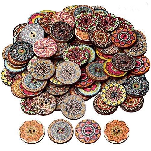 - HSAN 100 Pcs Wood Buttons, Mixed 2 Holes Buttons 1 Inch Buttons Vintage Assorted Buttons Decorative Buttons Flower Buttons Round Buttons for DIY Sewing Craft