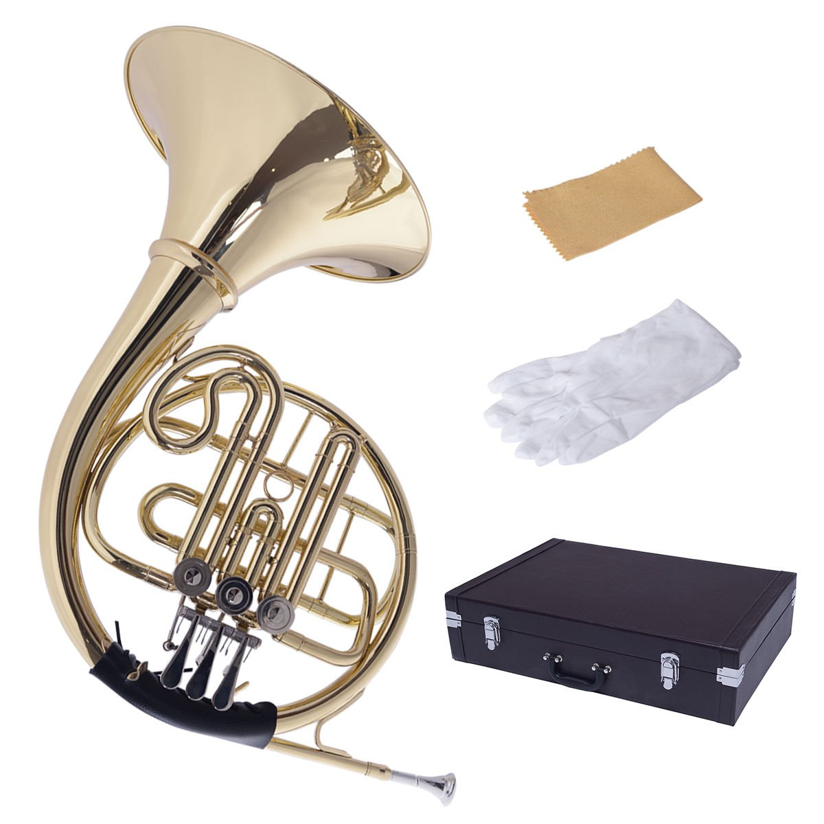 Costzon Brass French Horn, B/BB Flat 3 Key, Standard Student French Horn w/ Cupronickel Mouthpiece Case Gloves by Costzon