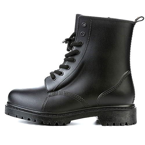 Lluvia de Mujeres Botas Zapatos Impermeables de Goma Encaje Maduro, Botines, Botas Casual Martin al Aire Libre: Amazon.es: Zapatos y complementos