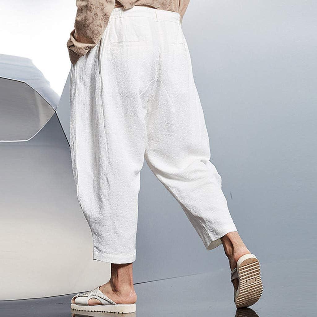 FRAUIT Pantaloni Lino Uomo Larghi Pantaloni Uomini Estivi Leggeri Corti Pantalone Ragazzo Estivo con Elastico Pantaloni Tuta Cotone Leggero Pantaloni da Lavoro Estate Lunghi Spiaggia