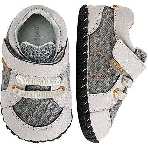pediped Boys' Dani Crib Shoe, Grey/Orange, 6-12 Months M US Infant