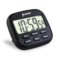 LUOEM Minuterie de Cuisine Magnétique Numérique 24 Heures Minuterie de Cuisine avec grand écran LCD et Alarme Minuteur Fort Anneau
