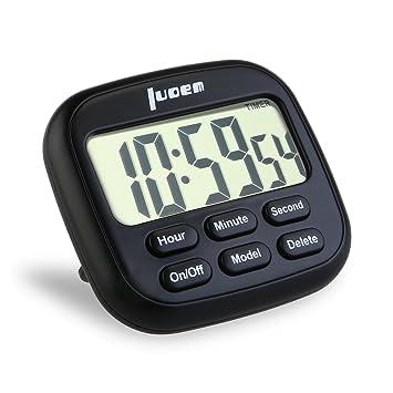 LOREM Temporizador de Cocina Magnético Digital 24 horas Cocina Reloj con gran Pantalla LCD Alarma Temporizador de Timbre alto