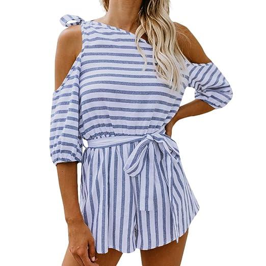 5be6244f072 TIMEMEANS Womens Jumpsuit Stripes Tassels Slash Shawl Hem Fringe Loose  Sweater Blue
