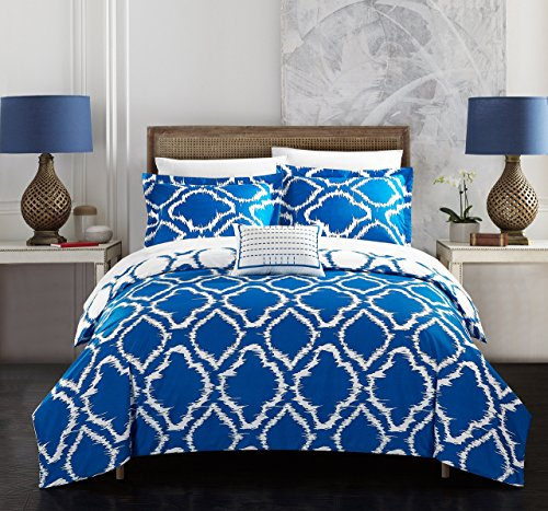 Chic Home 4 Piece Juniper Reversible two-tone Ikat diamond geometric pattern print technique Queen Duvet Cover Set Blue
