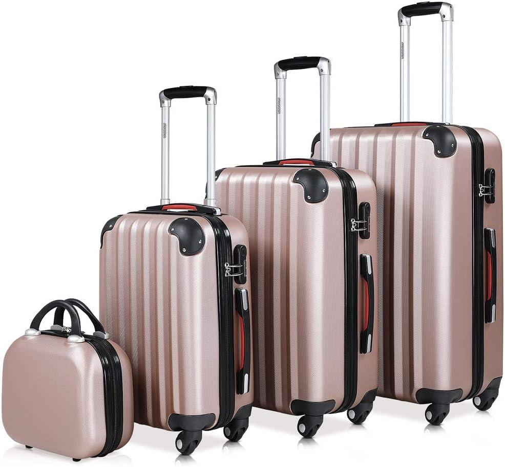 Monzana Juego de 4 maletas rigidas rosadas con neceser conjunto de viaje set de 4 valijas 12L 34L 59L 89L equipaje