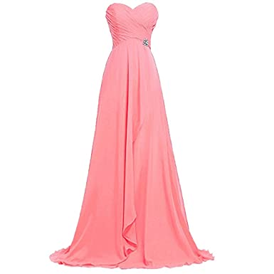 Women Long Strapless Evening Dress,Maxi Chiffon Gown With Belt Ruffle A Line Prom Dress