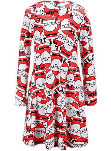 Azbro Mujer Navidad Vestido Estampado de Copo de Nieve A-línea Rojo 2