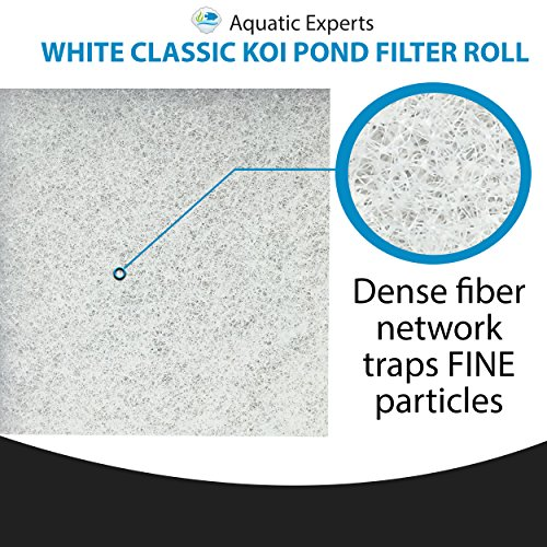 """Aquatic Experts Classic Koi Pond Filter Pad FINE - 12 Inches by 72 Inches by 3/4"""" to 1 Inch - White Bulk Roll Pond Filter Media, Ultra-Durable Fish Pond Filter Material USA"""