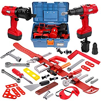 .com: kids toy tools belt set with electronic cordless drill ...