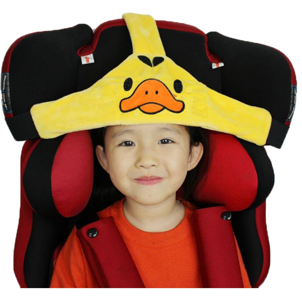 MINGZE Soporte de cabeza de asiento de coche de bebé niño, posicionador de sueño seguro y acogedor de coche, cinturón de sujeción de asiento de seguridad ajustable, protector de cinturón de seguridad soporte de cuello de cuello para niños bebé (Amarillo)