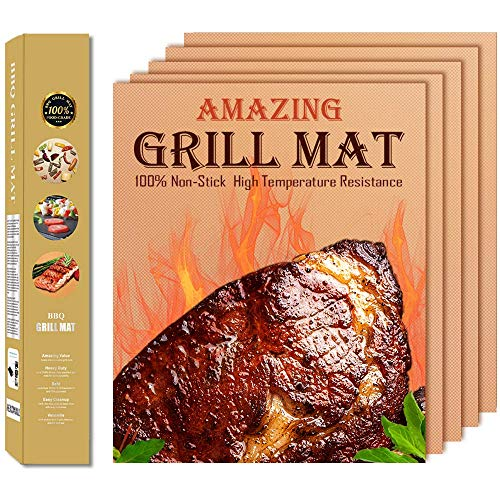 HEADMALL Copper Grill Mats Set of 5, Grill Mats Non Stick, BBQ Grill Mat & Baking -Reusable and Easy to Clean-BBQ Mats for Electric Gas Charcoal Grill
