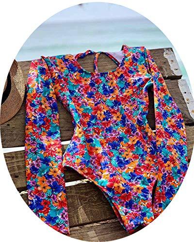 2019 Print Floral One Piece Swimsuit Long Sleeve Swimwear Women Bathing Suit Retro Swimsuit,08,L]()
