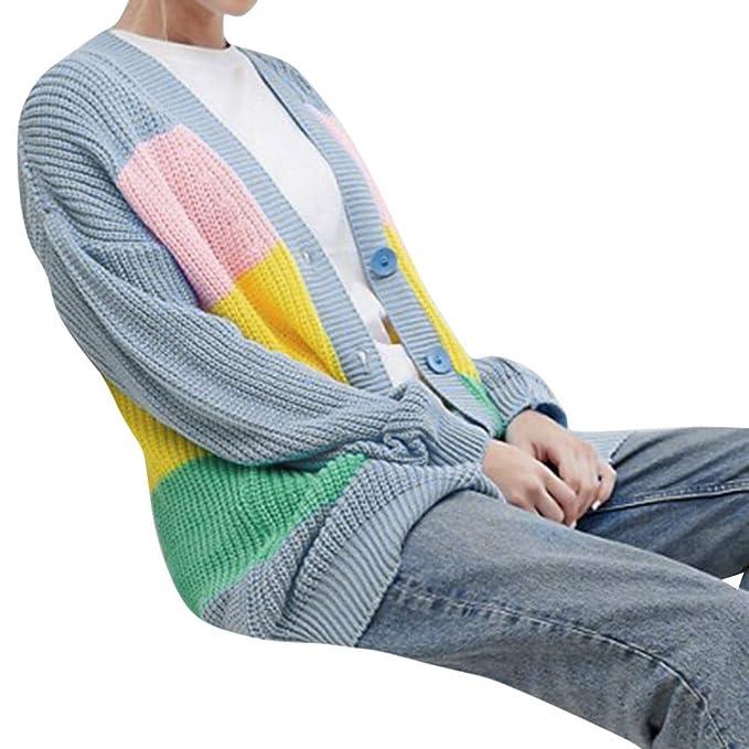 MYMYG Mujer Invierno Cardigan Suéter Rayas Jersey de Punto Suelto Cardigan Botón Chaqueta de Punto Suéter para OtoñO Invierno Pullover Túnicas Blusa: ...