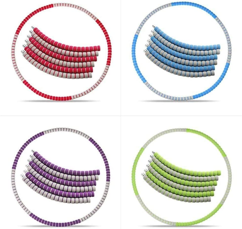 FANPING 6 Sections Weighted Hula Hoop Mousse rembourr/ée Fitness Exercice Hula Hoop Can Poids daugmentation