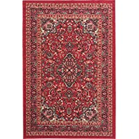 33 x 50 Red Persian Medallion Pattern Area Rug, Elegant Traditional Oriental Design, Motif Textured Print, Features Antimicrobial, Non Skid Backing, Vibrant Abstract Colors, High-Class Synthetic