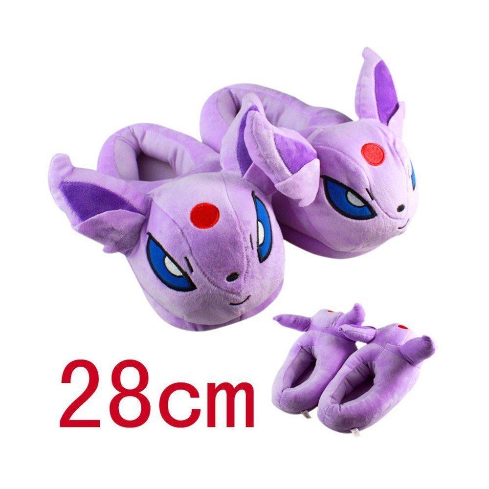 Huajun®9 Style 11''28cm Pokemon Pikachu Eevee Sylveon Umbreon Espeon Jolteon Flareon Poke Ball Plush Slippers Stuffed Plush Shoes (Purple)