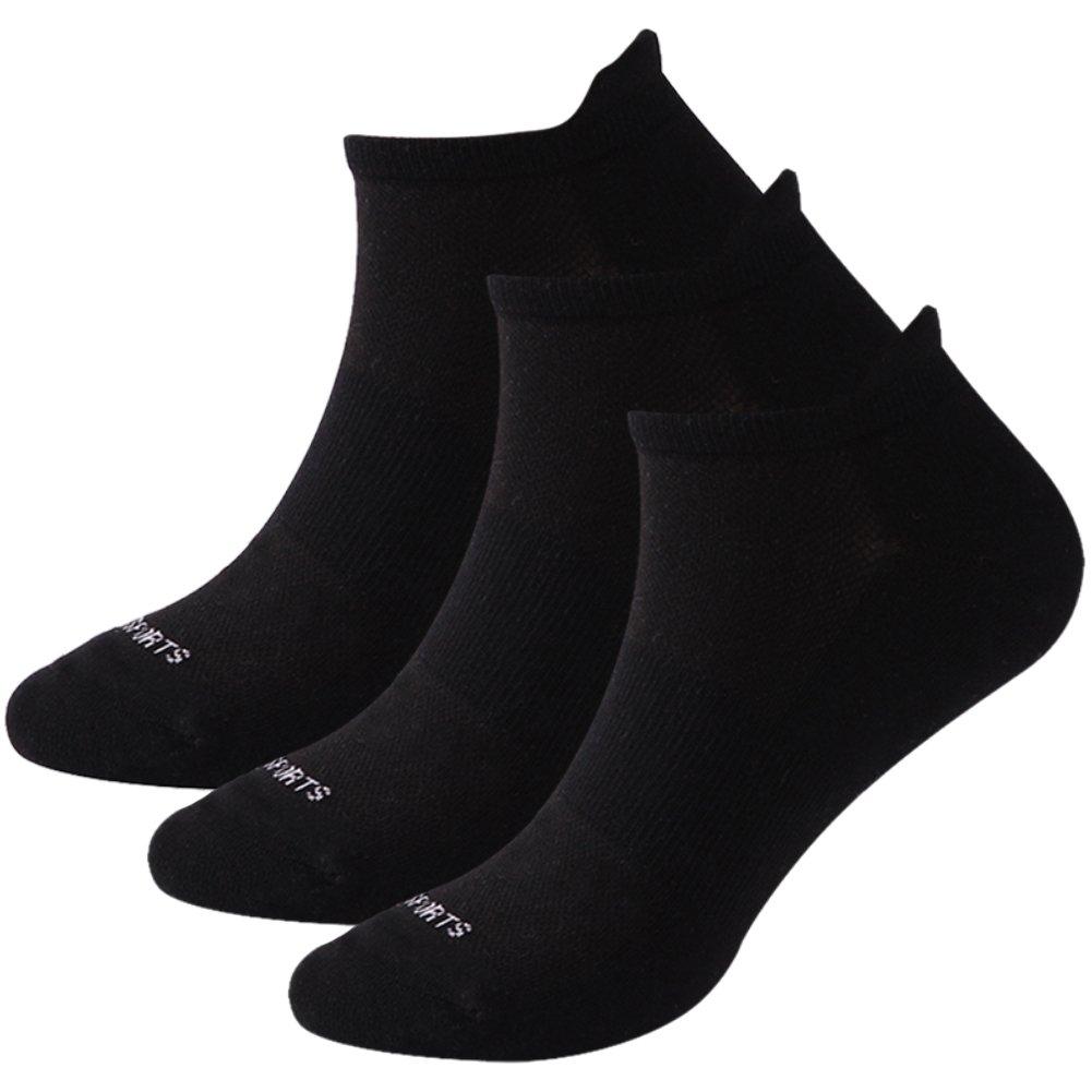 Black Ankle Socks, Getspor Unisex Moisture Wicking Breathable Lightweight Soft Padded Athletic Hiking Trekking Casual Low Cut Socks Black 1 Pair by Getspor