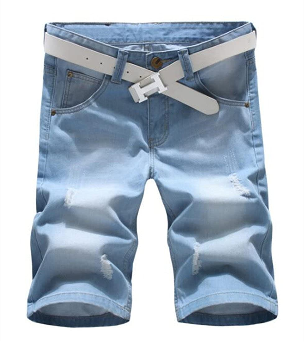 Grimgrow Men's Casual Loose Straight Denim Shorts Comfy Lightweight Athletic Short Jeans V013
