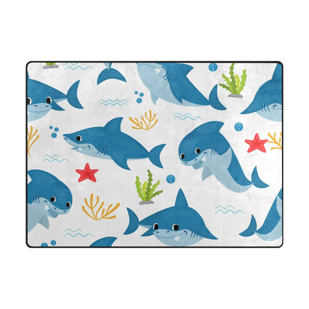 La Random Large Soft Rugs 63x48 Inches Arctic Animals Non-Skid Lightweight Nursery Yoga Rugs Play Mat for Kids Playing Room Living Room Bedroom Floor Mats