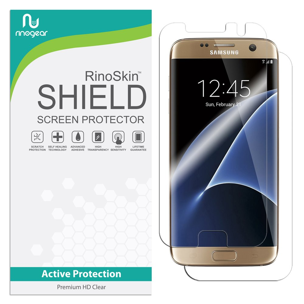 big sale 05319 5d4f4 RinoGear for Samsung Galaxy S7 Edge Screen Protector (Full Body Front/Back)  Case Friendly Screen Protector for Samsung Galaxy S7 Edge Accessory Full ...
