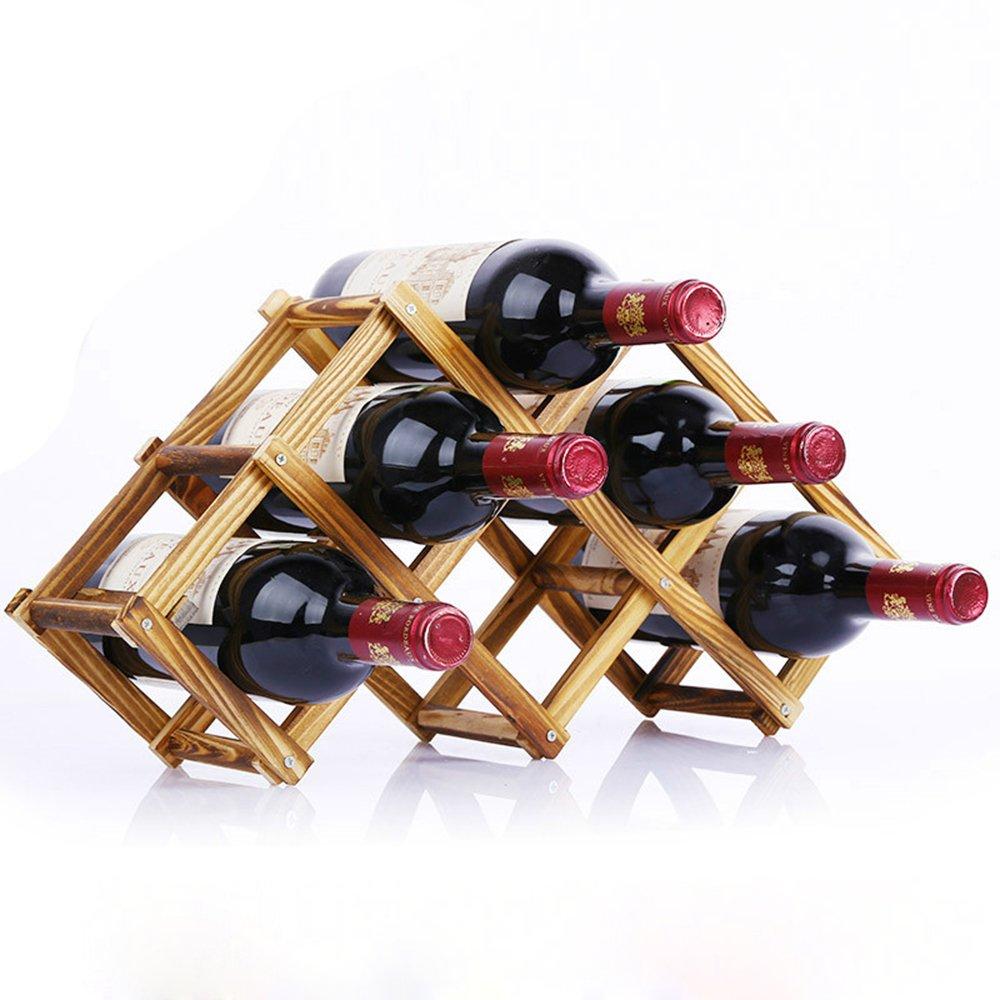 Flexible Collapsible Pine Wooden Grape Red Wine Bottle Rack Folding Decor Stemless Leaning Corner Shelf Simple Stand Unusual Organizer Holder Stylish Storage Interesting (6-Bottle, Carbonized Color)
