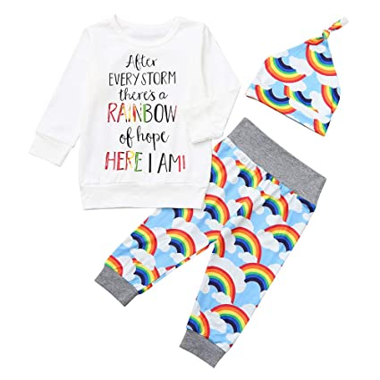 241024b74 Amazon.com  Fheaven Infant Baby Girls Boys 3pcs Autumn Winter Letter ...