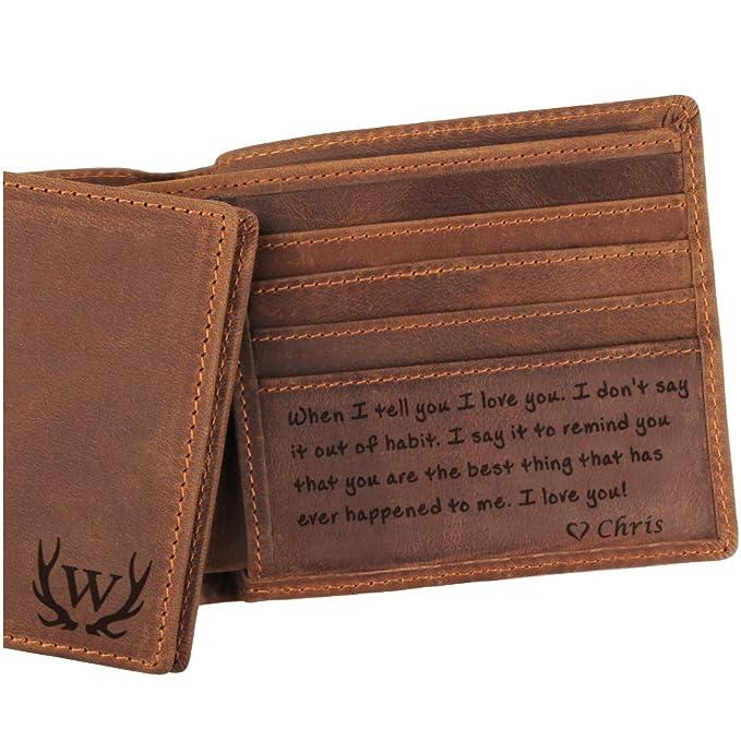 Amazon.com: Cartera de piel para hombre, regalo perfecto ...