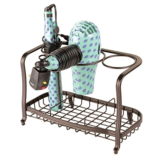 mDesign Soporte para secador de pelo de pie y sin taladro - Soporte para plancha de pelo, secador, cepillos y otros productos de peluquería - Cesta de ...