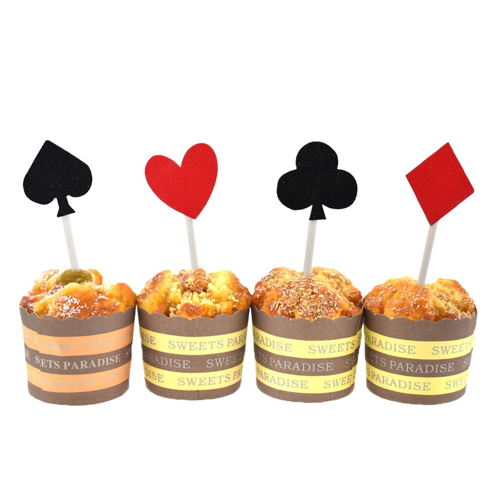 HZOnline Glitter Poker Heart Cupcake Toppers, Playing Cards Muffin Cake Fruit Food Picks Casino Party Decor (20pcs Poker)