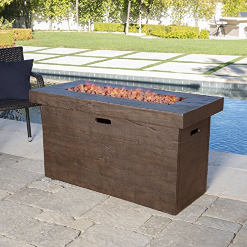 Great Deal Furniture Crawford Outdoor Brown Rectangular Fire Pit - 50,000 BTU (Deals Outdoor Furniture On)