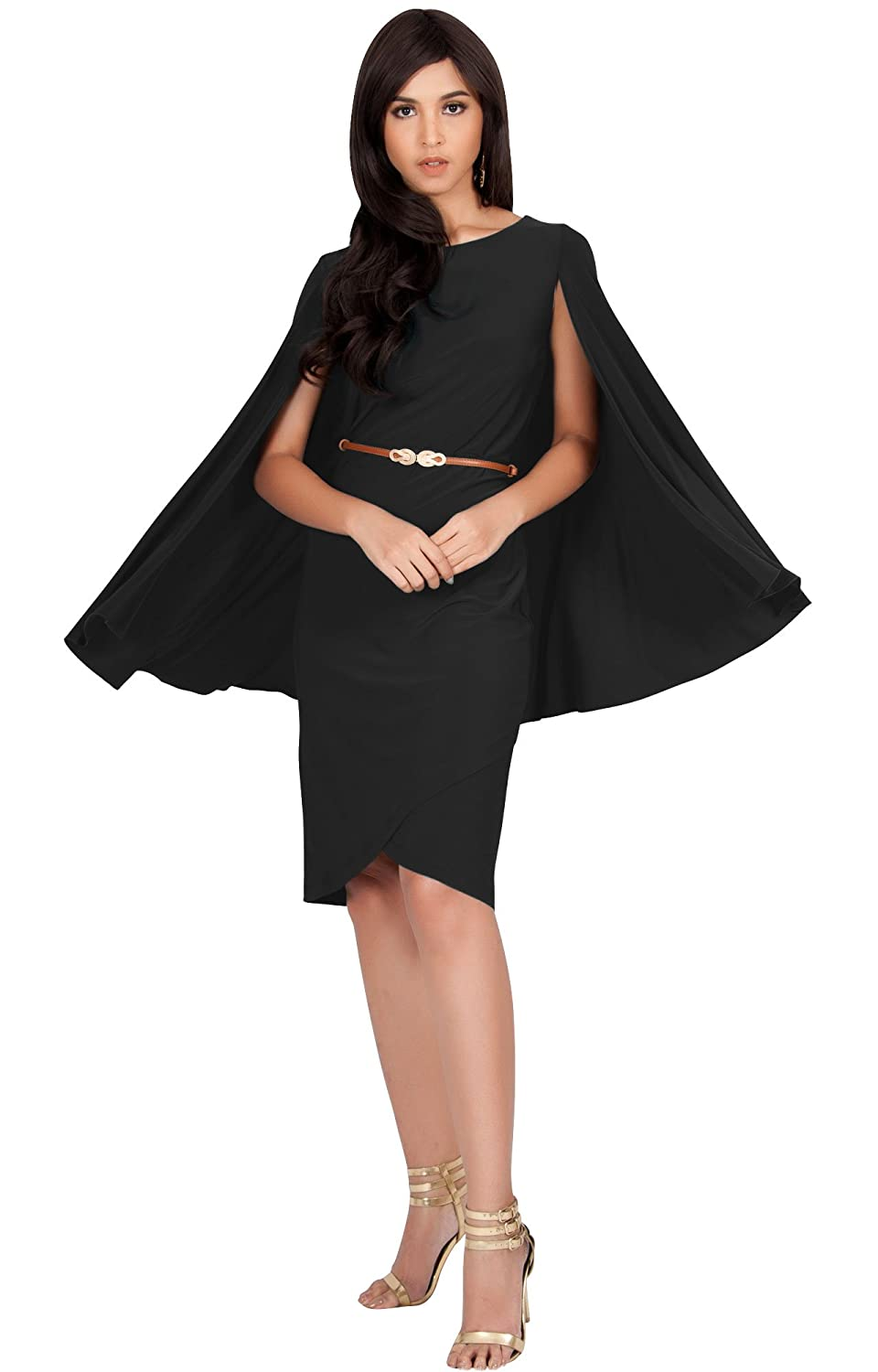 83ecc60f7 KOH KOH Womens Cape Long Sleeve Round Neck Cocktail with Leather Belt Mini  Dress at Amazon Women's Clothing store: