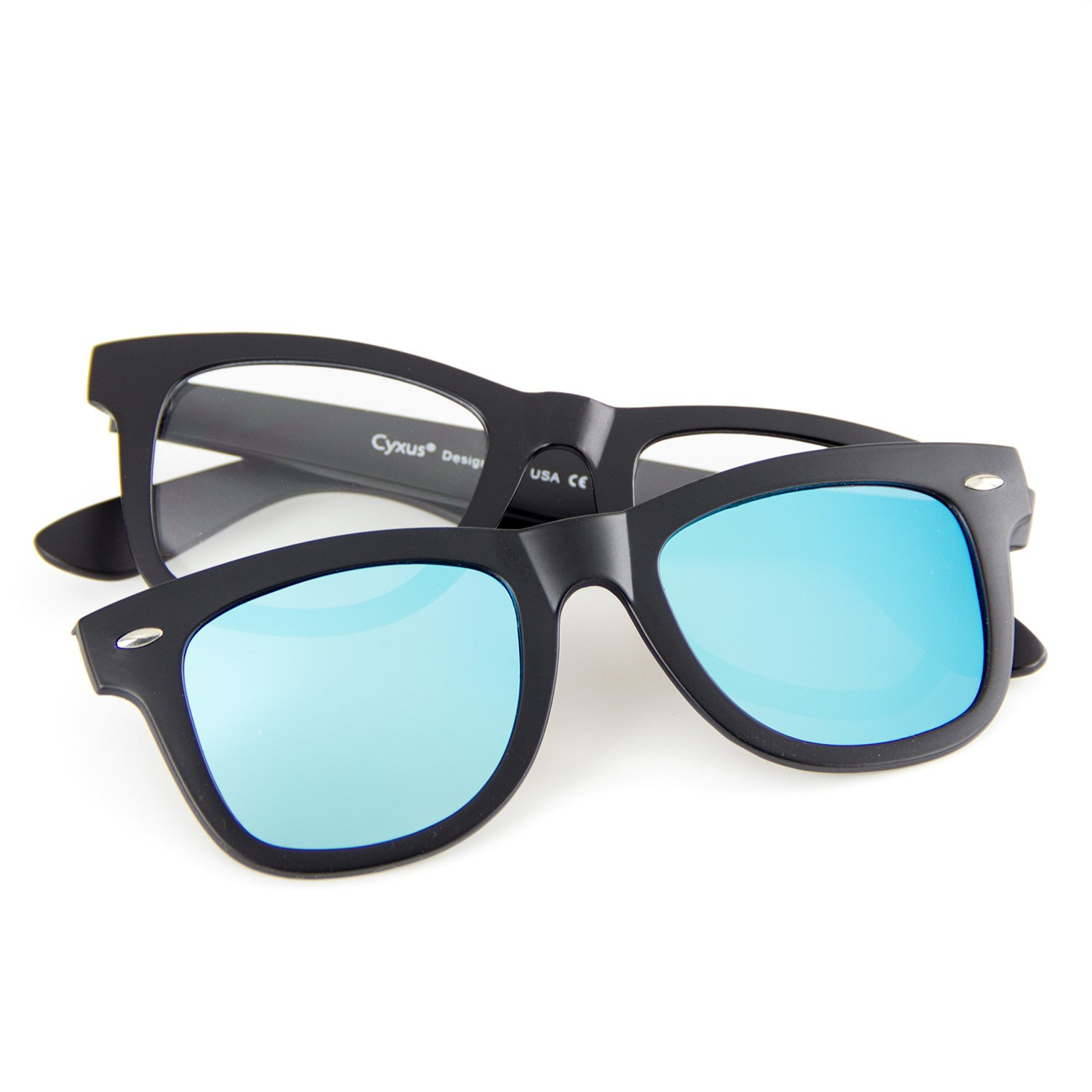 0266f775f6 Amazon.com  Cyxus  Two in One SET  Blue Light Blocking Glasses with Clip On Polarized  Sunglasses