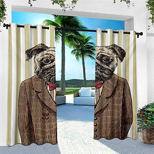 leinuoyi Pug, Outdoor Curtain Waterproof, Hand Drawn Sketch of Smart Dressed Dog Jacket Shirt Bow Suit Striped Background, for Balcony W72 x L108 Inch Brown Pale Brown