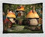 Ambesonne Farm House Decor Tapestry by, Mushroom Houses in Forest Fairy Tale Fantasy Wonderland Dwarf Kid Nursery Theme, Wall Hanging for Bedroom Living Room Dorm, 60WX40L Inches, Multi