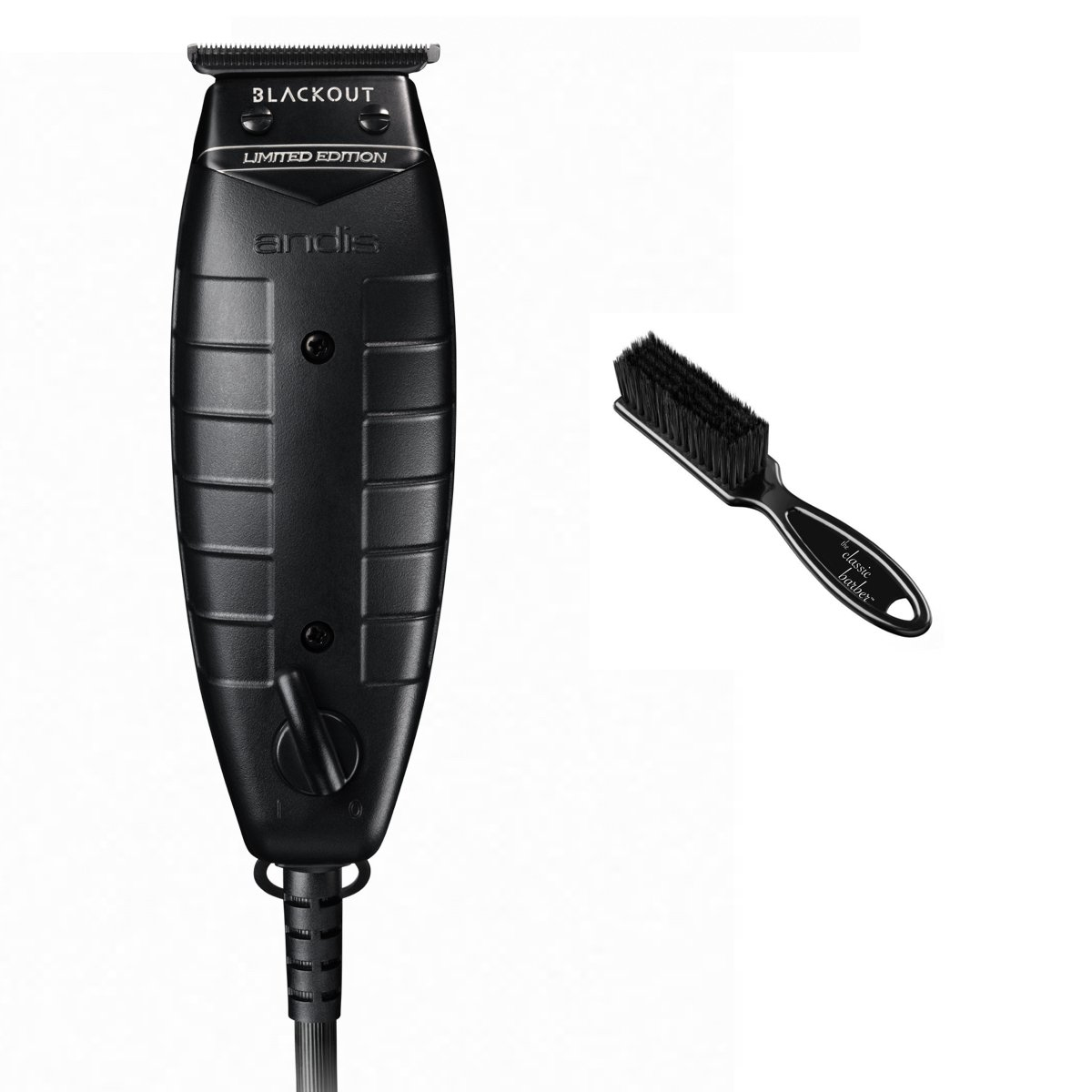 Andis 05110 Blackout T-Outliner, Black Bundle with The Classic Barber Blade Brush