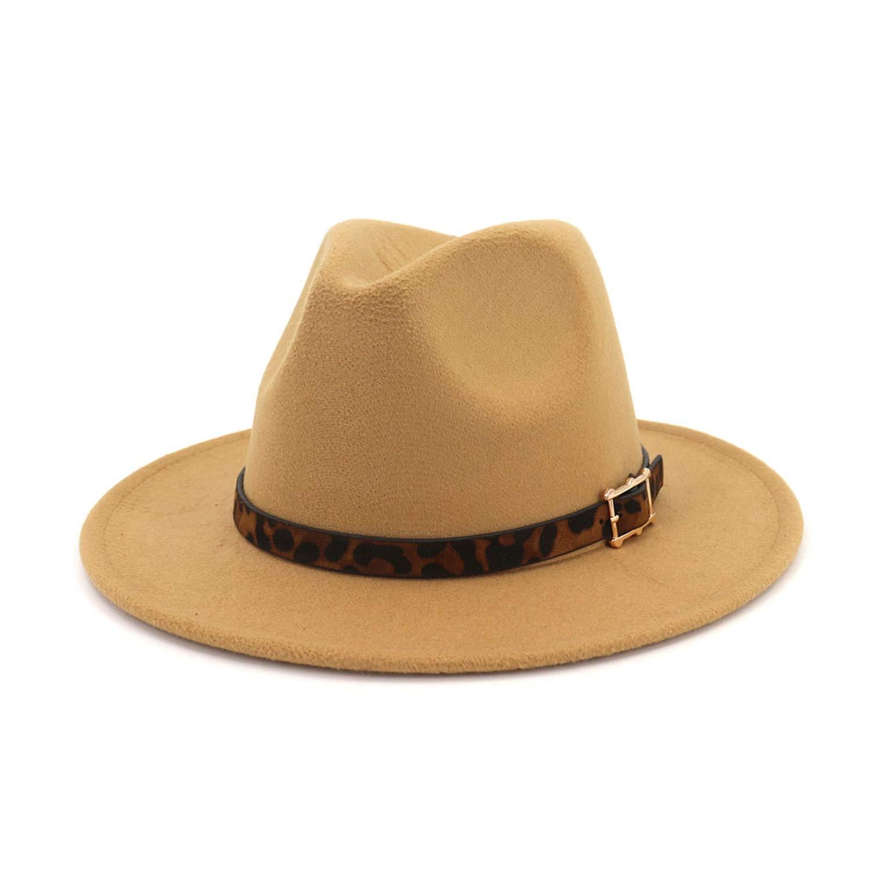 DOSOMI Autumn Wide Brim Ladies Leopard Belt Fedora Felt Hat Men Women Jazz Church Godfather Sombrero Caps