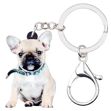 DdA8yonH Llavero Collar de acrílico Bulldog Francés Perro ...