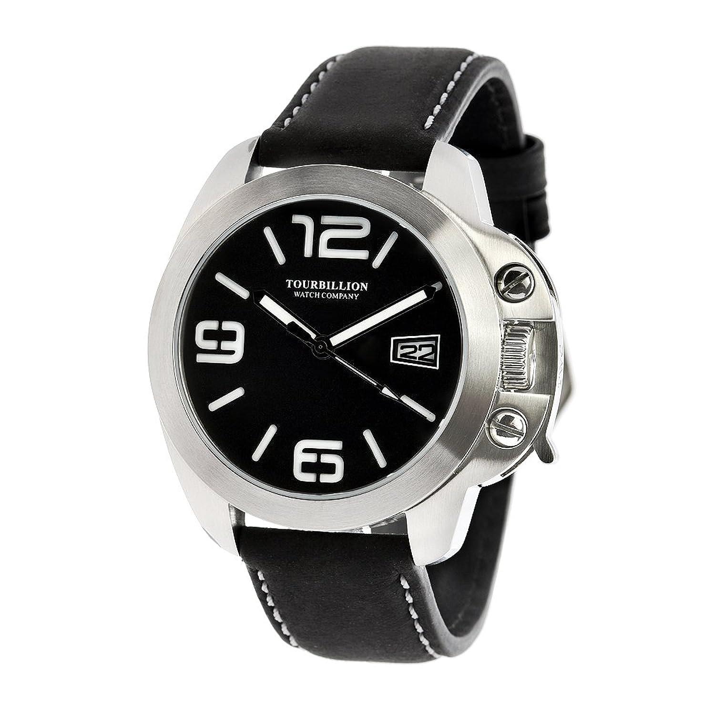 Tourbillion Watch CompanyモダンコレクションステンレススチールCase Black Dial withホワイトアラビアインデックスand Numbers with Crown安全ロックandブラック本革ストラップ B073V8GSTY