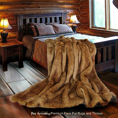 (Luxury Faux Fur Throw Blanket - Natural Brown Coyote - Wolf Shag - Sheepskin - Genuine Throw by Fur Accents USA (5'X7'))
