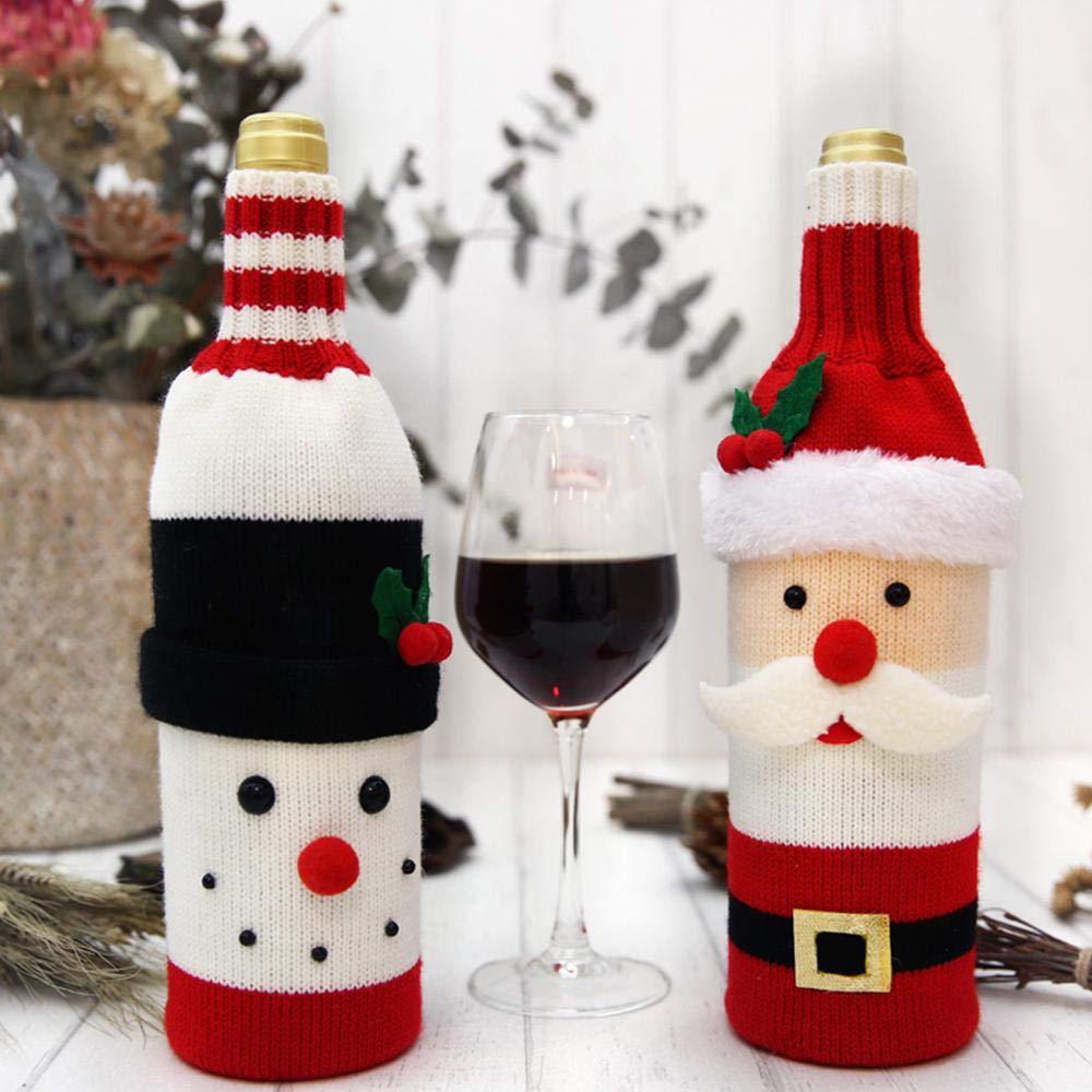 FOONEE dise/ño navide/ño de Pap/á Noel con Motivos navide/ños Funda para Botella de Vino
