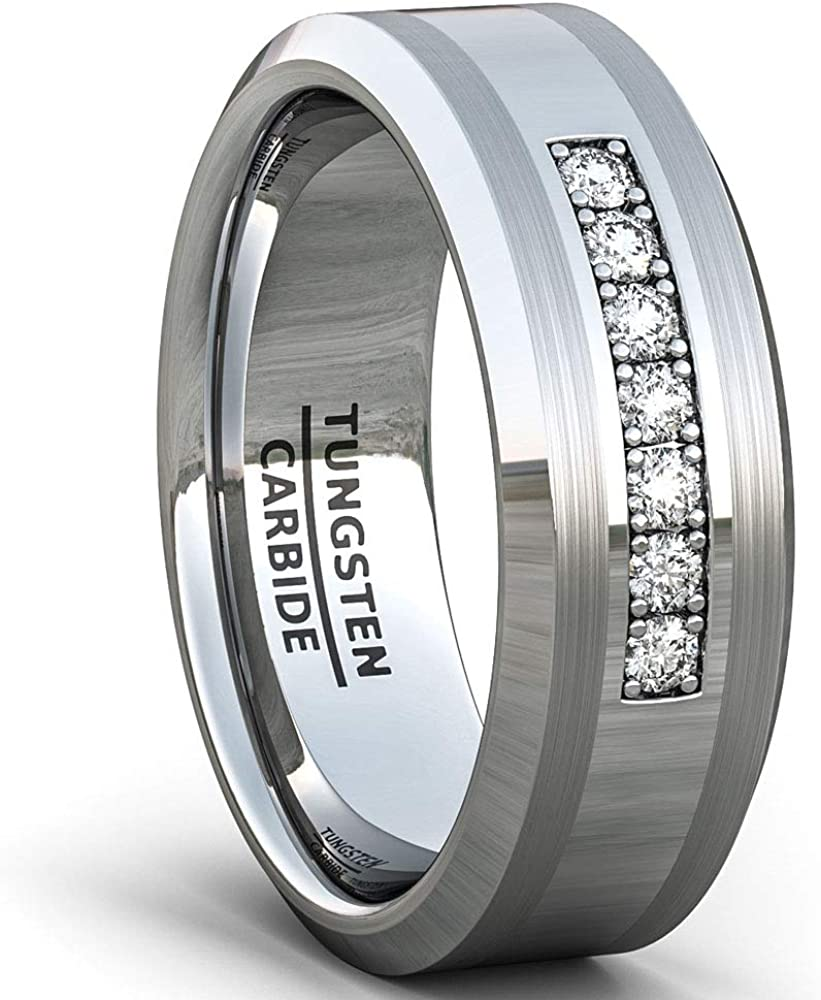 Duke Collections 8mm Black Tungsten Carbide Ring 7 Cubic Zircon Trillion Mens Wedding Comfort Fit