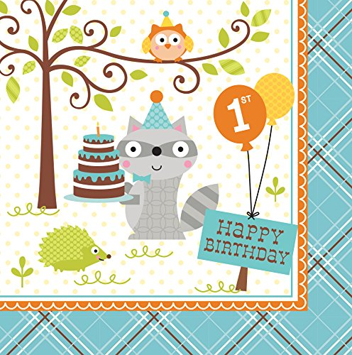 Creative Converting 16 Count 1st Birthday Lunch Napkins, Happi Woodland Boy 1st Birthday Lunch Napkins