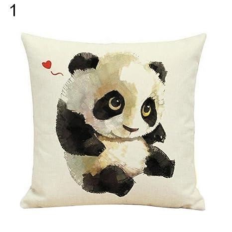 Lino Funda de almohada de lovely diseño de oso panda funda ...