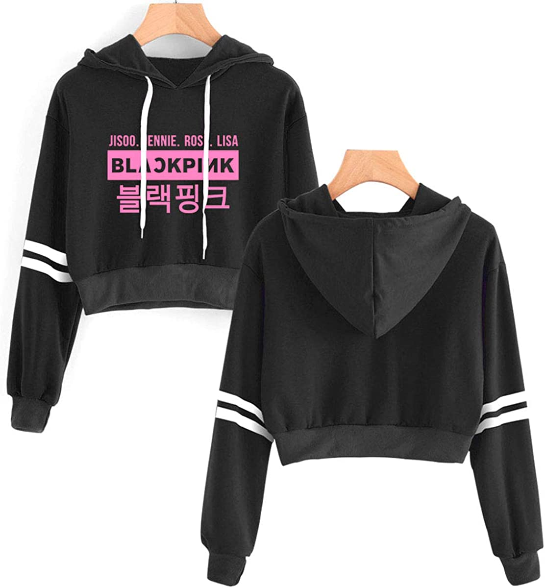 SIMYJOY Womens Korea Pop Fans Crop Hoodie Girls Kpop Dancing Sports Hooded Sweatshirt Summer Fashion