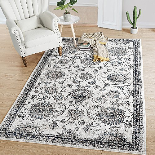 LNC Indoor Vintage Distressed Polyester Mat Area Rug for Living Room, Dining Room, Bedroom 8′ x 10′ Review