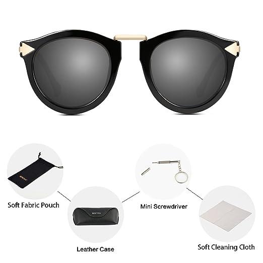 932ec0e30dc07 Bertha Fashion Designer Round Polarized Sunglasses for Women 68240 Grey