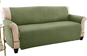 Reversible Spill Resistant Quilted Furniture Protector Cover with Ties - Covers Seat Bottom, Seat Back and 2 Seat Arms, Olive/Sage, Sofa