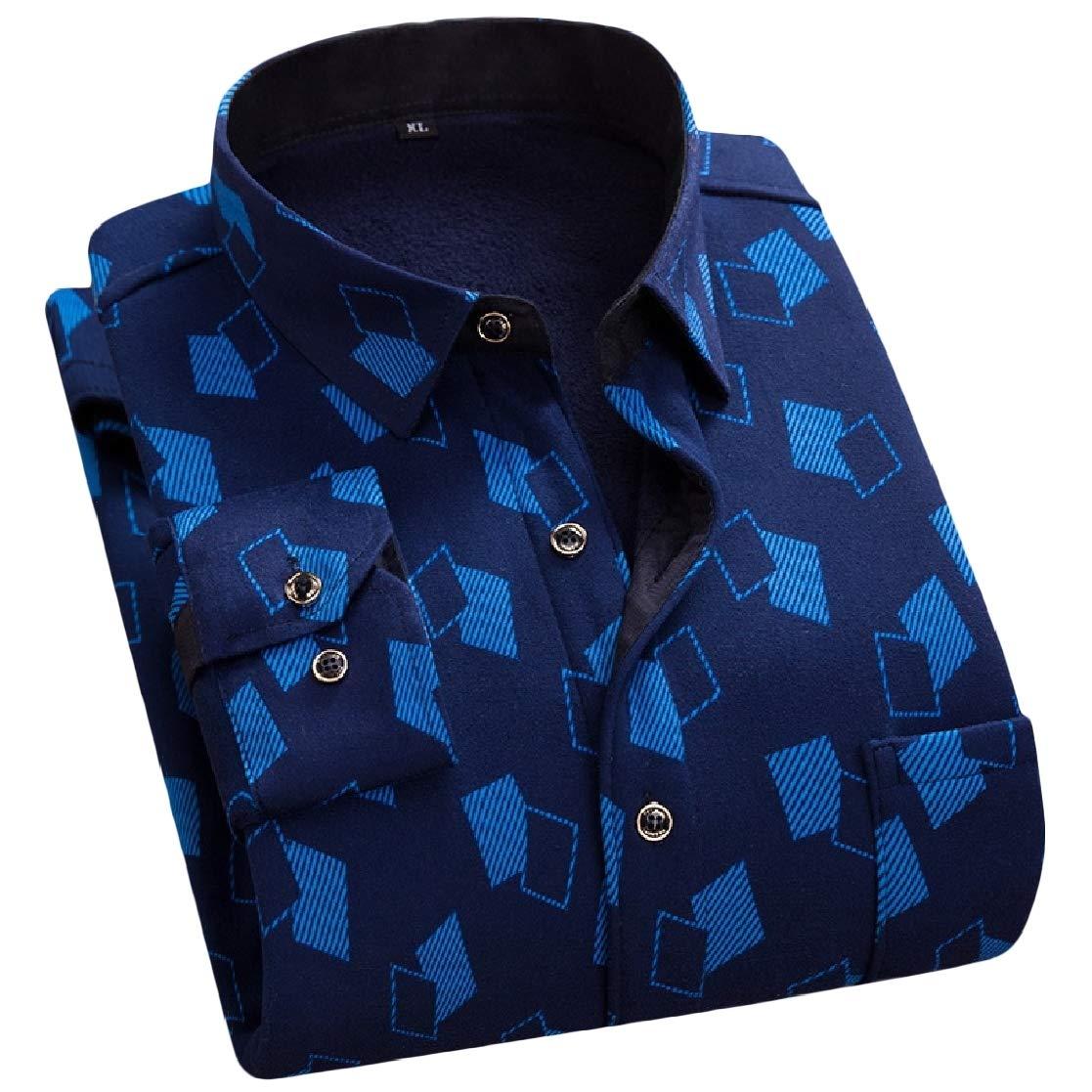 YUNY Mens Office Plaid Thickening Comfort Plus Velvet Dress Shirt Pattern14 L